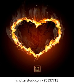 vector fiery heart on a black background