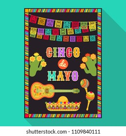 Vector fiesta postcard with icons of blossom cactus, sombrero, maraca, guitar and decorative text in ornate frame. Event vector illustration with mexican design elements