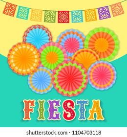 Vector fiesta postcard with paper fans, lace flags and colorful decorative text. Event vector illustration with mexican design elements