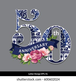Vector fifty Years Anniversary Celebration Design. Traditional Oriental Chinese porcelain style.