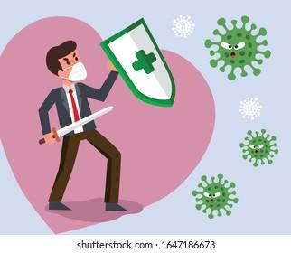 Vector Fight virus. Cartoon man character fighting with virus. COVID-19 Novel Coronavirus.