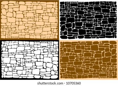 Vector figure of a stone wall and different background