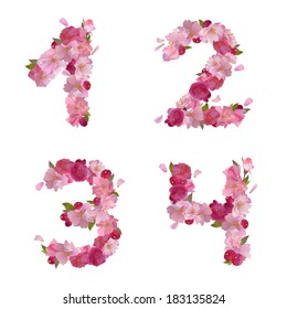 Vector figures 1,2,3,4, with gentle pink spring sakura flowers