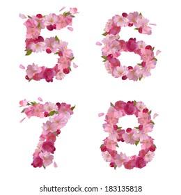 Vector figures 5,6,7,8 with gentle pink spring sakura flowers