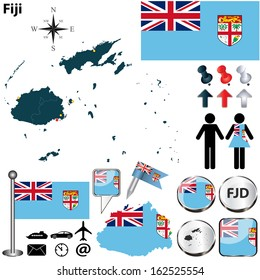 Vector of Fiji set with detailed country shape with region borders, flags and icons
