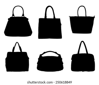 vector file of bags silhouette