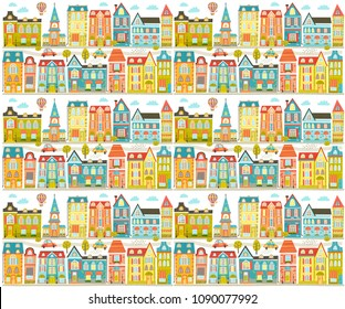 Vector file with cute city, home, street. Seamless Pattern