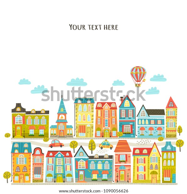 Vector file with cute city, houses, streets
