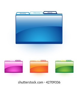 vector file folders with labels