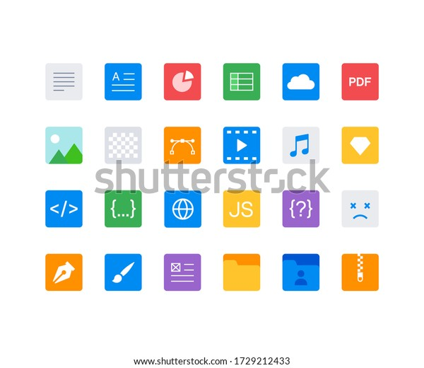 Vector file formats icons set (24 file type icons)
