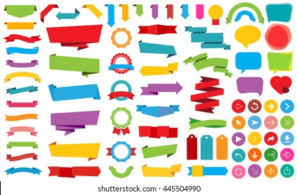Vector file representing Ribbon Labels Stickers Banners and Ribbons collection.