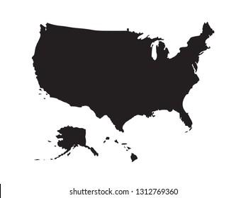 vector file of USA with Alaska and Hawai