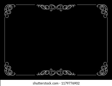 Vector Filigree Frame, Calligraphic Design Element, Old Movie Vintage Style.