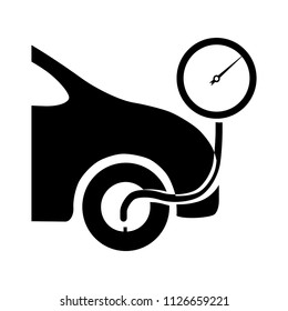 vector fill tire air illustration - auto car service isolated. vehicle automobile symbol