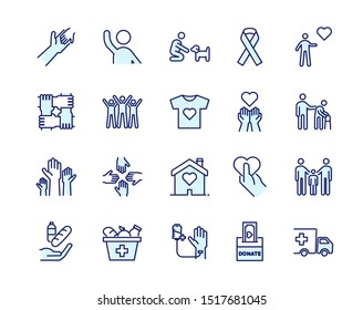 Vector filled outline icons related with humanitarian causes - volunteering, adoption, donations, charity, non-profit organizations.