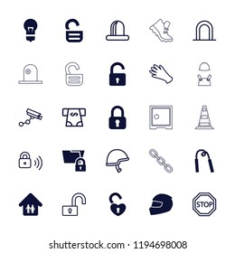 Vector  filled and outline icons such as opened lock, folder protection, family home, helmet. editable safety icons for web and mobile.