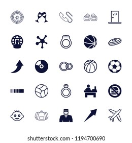 Vector filled and outline icons such as security guy, table, clink glasses, fotball, user globe, baby. editable round icons for web and mobile.