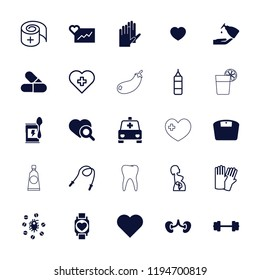 Vector filled and outline icons such as heart, barbell, heart search, kidney, virus and pills, glove. editable health icons for web and mobile.