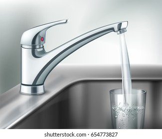 Vector filling glass of water from stainless steel kitchen faucet