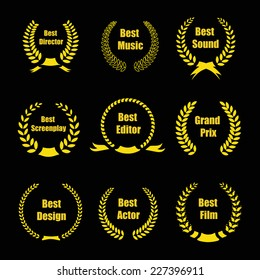 Vector Film Awards, gold award  wreaths on black background