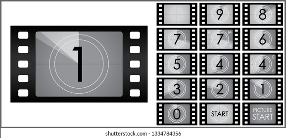 Vector film countdown - black and white