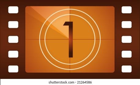 Vector film countdown. Number 1.
