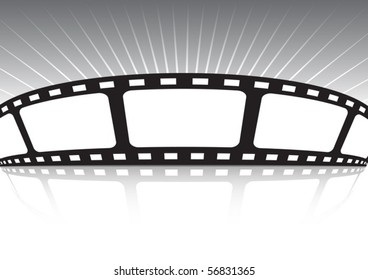 Vector film strip banner  with shiny background rays