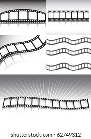 Vector film strip collection  of backgrounds - Lot of cinema style background illustration