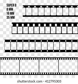 Vector Film Strip Set Illustration on transparent background. Abstract Film Strip Super 8 16 35mm  design template. Film Strip Seamless Pattern.