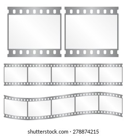 Vector film strips - waveform and straight strip. Insulated windows - you can create variable long straight filmstrip. Color silver/grey. Eps 10 vector file.