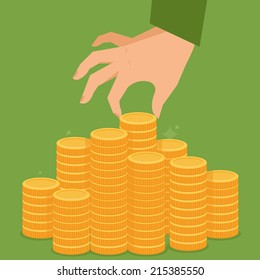 Vector finance concept in flat style - stack of golden coins and human hand