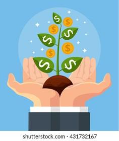 Vector finance concept. Money tree in hand. Investing money. Hand hold money tree