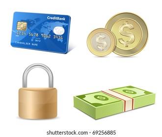 Vector finance icon set. Credit card, coins, banknotes, padlock.