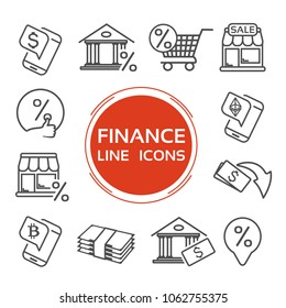 Vector finance line icons. Currency of the dollar, bitcoin, ethereum. Bank symbol for a percentage rate loan. Symbols of money, trade, purchase, discounts.