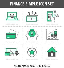 Vector finance simple icon set