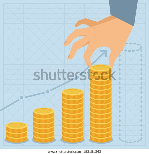 Vector financial business plan - hand holding golden coin in flat retro style