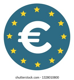Vector financial euro currency sign icon. Euro symbol on the background of the flag of the European Union. Illustration of EURO currency in flat minimalism line style.