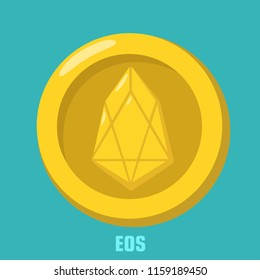 Vector financial icon coin with EOS cryptocurrency sign. On the gold coin, a crystal sign. Coin in a flat style. Text: EOS
