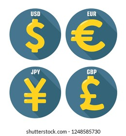 Vector financial icon currency signs: Dollar (USD), Euro (EUR), Yen (JPY) and Pound Sterling (GBP). Illustration of money signs in flat style.