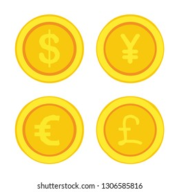 Vector financial icon currency signs, Dollar (USD), Euro (EUR), Yen (JPY) and Pound Sterling (GBP). Illustration of money signs in flat style