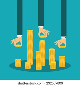 Vector financial management concept with stack of golden coins