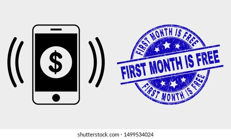Vector financial smartphone vibration pictogram and First Month Is Free seal. Red round textured seal stamp with First Month Is Free caption. Vector composition in flat style.