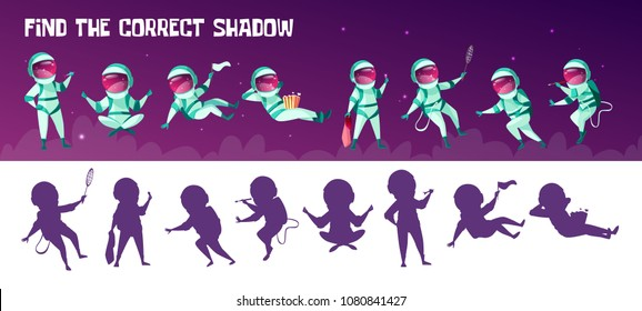 Vector find the correct shadow education children game. Correct silhouette matching test for preschool kids. Spacemen having fun playing games, drawing eating popcorn in outer space in spacesuit