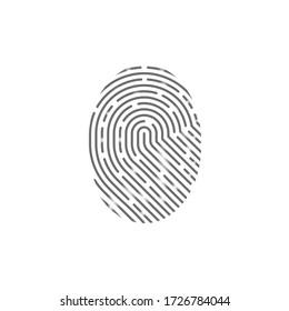 vector fingerprint icon isolated on white background.