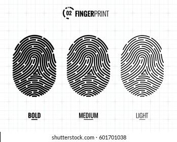 Vector Fingerprint Icons Set, Isolated Sci-Fi Future Identification Authorization System