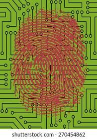 Vector Fingerprint pressed onto a Digital Circuit Board