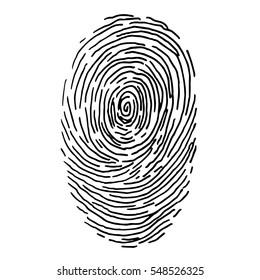 Vector fingerprint sketch. Hand drawn outline illustration with human finger print