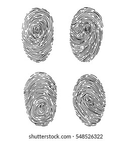Vector fingerprint sketch set. Hand drawn outline illustration with human finger print
