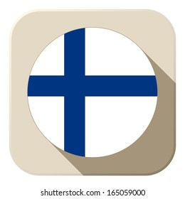 Vector - Finland Flag Button Icon Modern