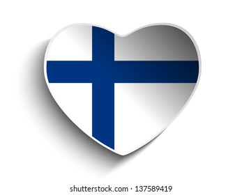 Vector - Finland Flag Heart Paper Sticker